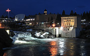 Spokane Falls Prints - UPPER FALLS of SPOKANE RIVER Print by Daniel Hagerman