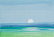 Florida Keys Paintings - Upper Matecumbe Moonrise by Michelle Wiarda