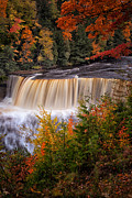 Fall Photos Photo Framed Prints - Upper Tahquamenon Falls II Framed Print by Todd Bielby