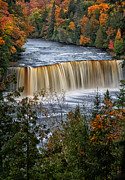 Autumn Photos Posters - Upper Tahquamenon Falls  Poster by Todd Bielby