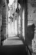 Ancient Rome Art - Upper Walkway With Arches Of The Old Roman Colloseum At El Jem Tunisia by Joe Fox