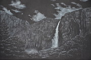 Yosemite Drawings - Upper Yosemite Fall by David Swope
