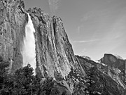 Half Dome Posters - Upper Yosemite Fall with Half Dome Poster by Shane Kelly