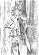Bows Drawings Framed Prints - Upright Bass Framed Print by Elizabeth Briggs