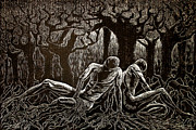 1000 Woodcuts Prints - Uprooted Print by Maria Arango