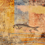 Gold Mixed Media - Upstream by Carol Leigh