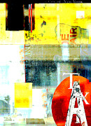 Surtex Licensing Metal Prints - Urban Abstract in Red and Yellow Metal Print by Anahi DeCanio