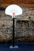 Hoop Mixed Media Acrylic Prints - Urban Basketball Court Acrylic Print by Lane Erickson
