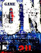 Red White And Blue Mixed Media Prints - Urban Calligraphy Game On Print by Adspice Studios