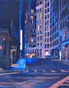 Night-scape Paintings - Urban Canyon 4 Nocturne by Deb Putnam