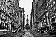 Black-and-white Metal Prints - Urban Canyon - Philadelphia City Hall Metal Print by Bill Cannon