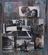 Engagement Mixed Media Prints - Urban Decay Engagement Collage Print by Anita Burgermeister