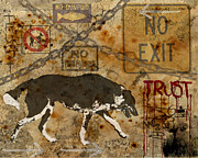 Dog Walking Prints - Urban Dog Print by Judy Wood