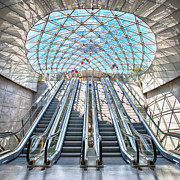 Industrial Concept Framed Prints - Urban Escalators Framed Print by Antony McAulay