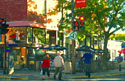 Montreal Cityscenes Paintings - Urban Explorers Couple Walking Downtown Streets Of Montreal Summer Scenes Carole Spandau by Carole Spandau