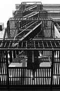 Down Town Prints - Urban Fabric - Fire Escape Stairs - 5D20592 - Black and White Print by Wingsdomain Art and Photography