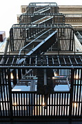 Stair-rail Framed Prints - Urban Fabric - Fire Escape Stairs - 5D20592 Framed Print by Wingsdomain Art and Photography