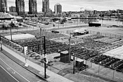 urban farm on unused lot at concord pacific place at false creek Vancouver BC Canada Print by Joe Fox