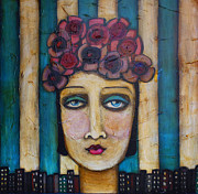 Self Taught Prints - Urban Flower Hat Print by Sherry Dooley