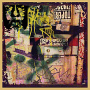 Tag Mixed Media Framed Prints - Urban Graffiti Abstract 1 Framed Print by Tony Rubino