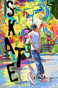 Teen Graffiti Mixed Media - Urban Graffiti Skateboard by Adspice Studios