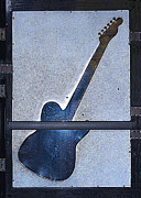 Autographed Metal Prints - Urban Guitar Metal Print by Renee Anderson