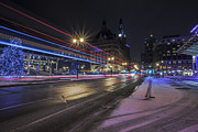 Winter Night Prints - Urban Holiday  Print by CJ Schmit