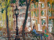 Oil Lamp Originals - Urban Park with Figures by Edward Ching