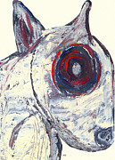 English Bull Terrier Paintings - Urban Pitbull  by Brian Buckley