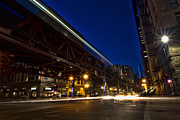 Chicago Night Scene Posters - Urban Streaks Of Light Poster by Sven Brogren