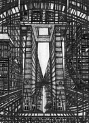 Architecture Drawings Prints - Urban Utopia 2 fragment Print by Serge Yudin
