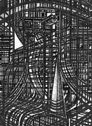 Urban Buildings Drawings Posters - Urban Utopia 3 fragment Poster by Serge Yudin