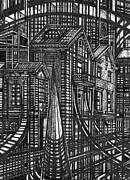 Urban Buildings Drawings Posters - Urban Utopia fragment Poster by Serge Yudin