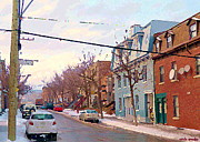 Pointe St. Charles Paintings - Urban Winter Landscape Colors Of Quebec Cold Day Pointe St Charles Street Scene Montreal  by Carole Spandau