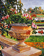 Best Sellers Painting Prints - Urn of English Geraniums Print by David Lloyd Glover