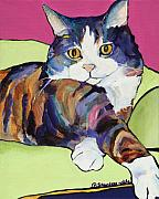 Striped Cat Framed Prints - Ursula Framed Print by Pat Saunders-White