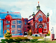 Water Colours Framed Prints - Ursuline Academy Arcadia Missouri Framed Print by Kip DeVore