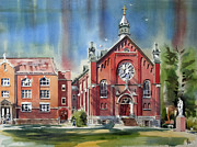 Building Painting Originals - Ursuline Academy with Doves by Kip DeVore