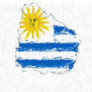 Abstract Map Digital Art - Uruguay Painted Flag Map by Antony McAulay
