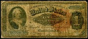 Fractional Paintings - U.S. 1886 one dollar Silver Certificate  by Lanjee Chee
