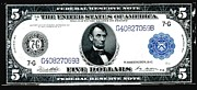 Benjamin Franklin Painting Posters - U.S. 1914 five dollar Federal Reserve Note FR 871A Poster by Lanjee Chee