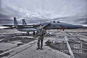 Full-length Portrait Metal Prints - U.s. Air Force Pilot Standing In Front Metal Print by Terry Moore