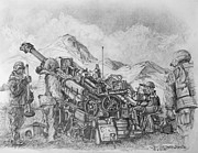 Artillery Drawings Framed Prints - US Army M-777 Howitzer Framed Print by Jim Hubbard