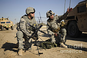Iraq Framed Prints - U.s. Army Soldiers Setting Framed Print by Stocktrek Images
