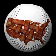 Fun Food Mixed Media Framed Prints - US Bacon Weave Map Baseball Square Framed Print by Andee Photography
