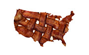 Cooking Ingredient Digital Art Posters - US Bacon Weave Map - Hickory Smoked - Meat - Pork - Breakfast Poster by Andee Photography