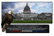 Declaration Of Independence Mixed Media Framed Prints - US Capitol with Eagle Framed Print by Rose Borisow