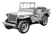 Charcoal Car Framed Prints - Us classical jeep car in world 2 drawing art poster Framed Print by Kim Wang