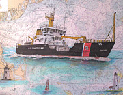 Cape Cod Paintings - US Coast Guard Buoy Tender Ida Lewis Nautical Chart Map Art by Cathy Peek
