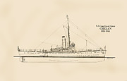 Historic Ship Drawings Prints - U.S. Coast Guard Cutter Chelan Print by Jerry McElroy